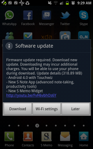 Samsung Galaxy Note Android Update 4.0