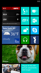Startschirm Windows Phone 7.8